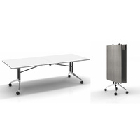 RAPIDLINE RAPID EDGE FOLDING BOARDROOM TABLEON WHEELS METAL BASE WHITE & DRIFTWOOD OFFICE FURNITURE