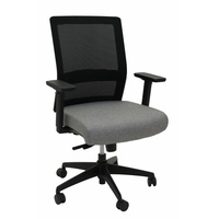 GESTURE HIGH BACK BLACK & GREY HEAVY DUTY SYNCHRO MESH CHAIR WITH ARMS BIFMA GREENGUARD