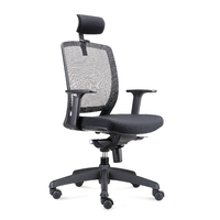 HARTLEY BLACK MESH OFFICE TASK CHAIR WITH ARMS AND HEADREST BIFMA