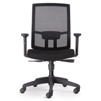 KAL HIGH BACK BLACK MESH CHAIR WITH ARMS BIFMA