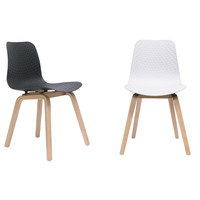 LUCID HOSPITALITY VISITOR EVENT CHAIR WITH TIMBER BASE WHITE OR BLACK SEAT