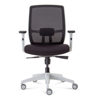 LUMINOUS GAS LIFT MESH CHAIR WHITE AND BLACK WITH ARMS BIFMA