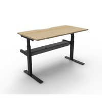 RAPIDLINE PARAMOUNT SINGLE SIDED HEIGHT ADJUSTABLE WORKSTATION SYSTEM BEECH OR WHITE TOPS WITH BLACK OR WHITE BASE