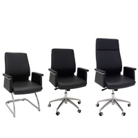 PELLE EXECUTIVE LEATHER BLACK OFFICE VISITOR AND TASK CHAIRS WITH ARMS