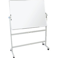 PORCELAIN DOUBLE SIDED PIVOTING MOBILE WHITEBOARD ON STAND ALUMINIUM FRAME