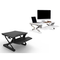 RAPIDLINE MANUAL HEIGHT ADJUSTABLE STANDING WORKSTATION COMPUTER RISER WHITE AND BLACK COLOURS