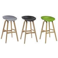 VIRGO HOSPITALITY OR KITCHEN BAR STOOL BLACK, GREEN, GREY WOODEN FRAME POLYPROPYLENE SHELL