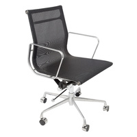 WM600 BLACK MESH SEAT AND BACK CHAIR WITH ARMS
