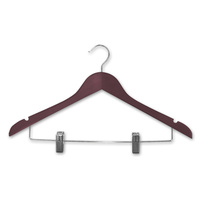 ADULT WOODEN COAT CLIP TROUSER PANT HANGER WITH CLIPS MAHOGANY COLOUR