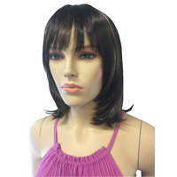 WOMENS DARK BROWN WITH BLONDE STREAKS WIG SYNTHETIC HAIR STRAIGHT, FRINGE, COSPLAY, PARTY HAIR