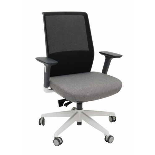MOTION HIGH BACK BLACK, GREY, WHITE HEAVY DUTY SYNCHRO MESH CHAIR WITH ARMS BIFMA GREENGUARD